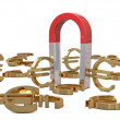 Magnet and golden euros — Stock Photo #5905309