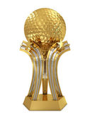 Golden - silver golf award trophy with ball and stars — Stock Photo