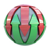 Red and green lines on gray sphere — Stock Photo