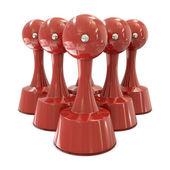 母碟红色圆柱组中 — 图库照片