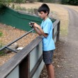 Boy taking photos — Stockfoto
