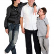 Two boys with dad — Foto Stock