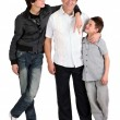 Foto Stock: Two boys with dad
