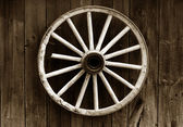 Rustic wagon wheel — 图库照片