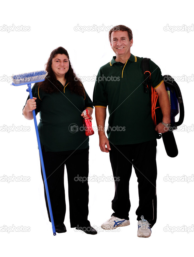 Couple of cleaners ready for work — Stock Photo #5958851