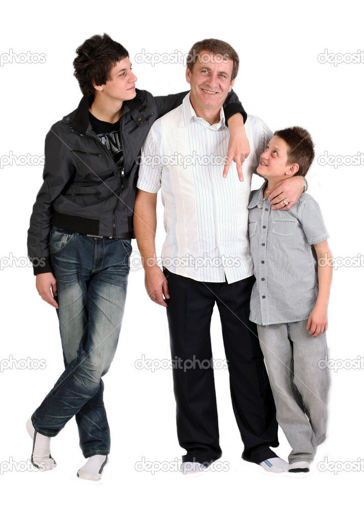 Tow boys together with loving dad — Stock Photo #5958913
