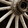 Stock Photo: Rustic wagon wheel