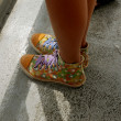 Girls feet in shoes — Stok fotoğraf