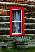 Log shack mit fenster — Stockfoto
