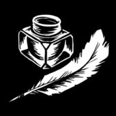 Inkwell with quill vector illustration   — Stock Photo