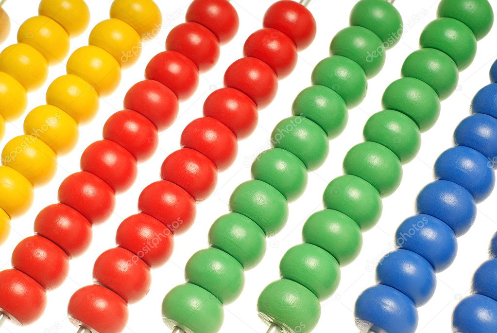 Abacus with many colorful beads isolated over white background — Stock Photo #5510789