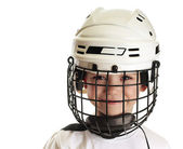 Boy in hockey helmet — Stock Photo