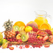 Various fruits and juice — Stock Photo