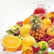 Stock Photo: Various fruits and juice