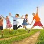 Jumping kids — Stock Photo