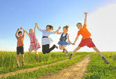 Jumping kids — Stock Photo
