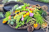 Assortment healthy vegetables in basket — Stock Photo