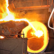 Pouring molten steel - Stockfoto
