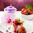 Panna Cotta with Berries — Stock Photo