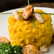 Risotto with saffron and seafood — Stock Photo