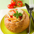 Bread stuffed with pasta - Stock Photo