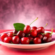 Plate with Cherries — 图库照片