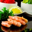 Grilled Prawns on black background - 