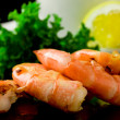 Grilled Prawns on black background — Stock Photo