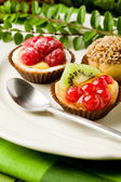 Pastries with fruits — Stock Photo