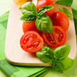 Tomatoes and Basil - Stockfoto