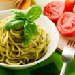 Spaghetti with pesto - Stock Photo