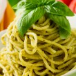 Spaghetti with pesto — Stockfoto