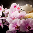 Royalty-Free Stock Photo: Asian rice dish with orchid flowers