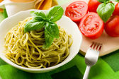 Spaghetti with pesto — Stock Photo