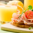 Delicious Toast and Orange Juice - Stock Photo