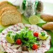 Octopus Carpaccio with mixed salad — Stock Photo