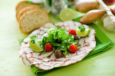 Octopus Carpaccio with mixed salad — Stockfoto