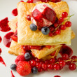 Puff pastry with berries and ice cream — Stock Photo