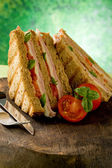 Delicious Sandwich on wooden table — Stock Photo