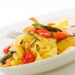Pasta with Zucchini and Shrimps — Stock Photo