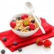 Stock Photo: Corn flakes with berries - Isolated