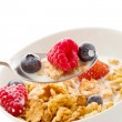 Corn flakes with berries - Isolated — Stock Photo