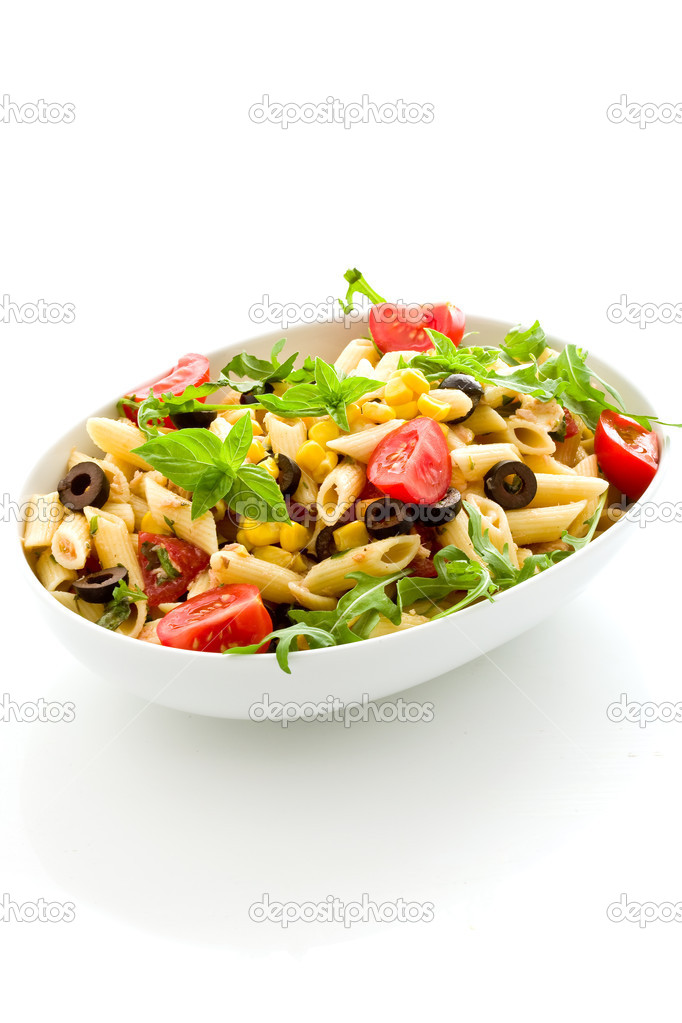 Photo of delicious tasty pasta salad with fresh vegetables on isolated background — Stock Photo #6279345