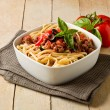 Pasta with italian sausage meat sauce — ストック写真