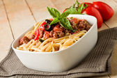 Pasta with italian sausage meat sauce — Stock Photo