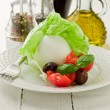 Buffalo Mozzarella with wrapped lettuce — Stock Photo