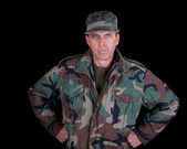 Solider with Arms Akimbo — Stock Photo