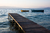 Pier and Boats at Sunset — Stock Photo
