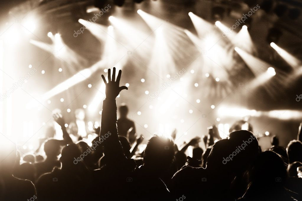 Crowd cheering at a live music concert  Stock Photo #6039852