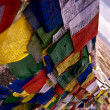 Tibetan prayer flags, India, Leh - Stock Photo